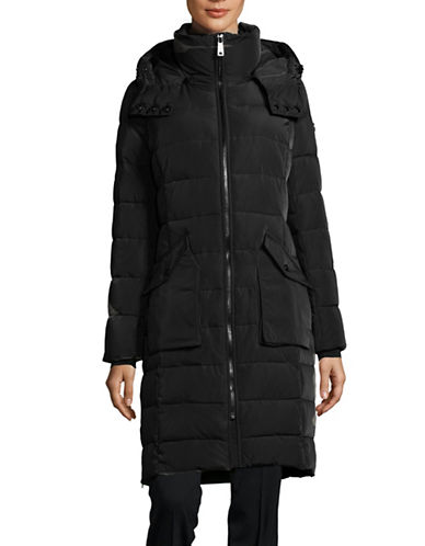 Calvin Klein Long Hooded Puffer Jacket-BLACK-Small