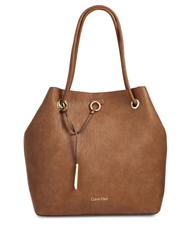 Calvin Klein Reversible Drawstring Bucket Bag-BROWN-One Size