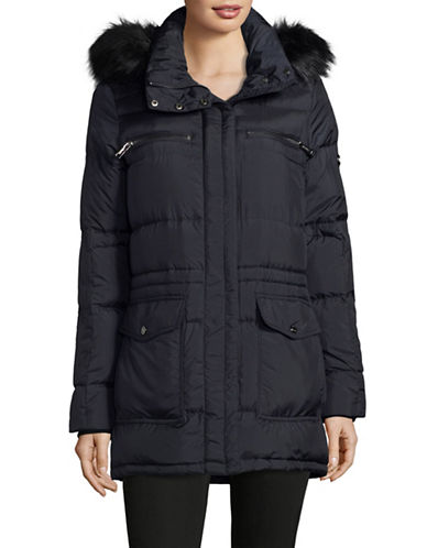 Calvin Klein Faux Fur Hooded Down-Fill Anorak-NAVY-X-Small