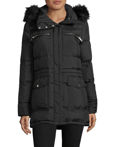 Calvin Klein Faux Fur Hooded Down-Fill Anorak-BLACK-Medium