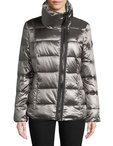 Calvin Klein Quilted Asymmetrical Down Jacket-GREY-Small 89467131_GREY_Small