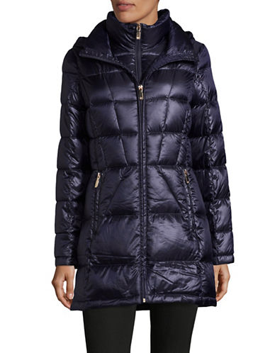 Calvin Klein Packable Hooded Puffer Coat-BLUE-Large