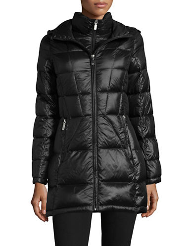 Calvin Klein Packable Hooded Puffer Coat-BLACK-Large