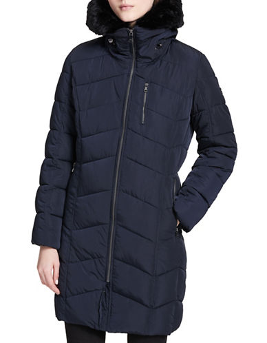 Calvin Klein Faux Fur Puffer Jacket-NAVY-Small
