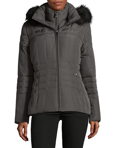 Calvin Klein Faux Fur Trimmed Down Puffer Coat-GREY-Large