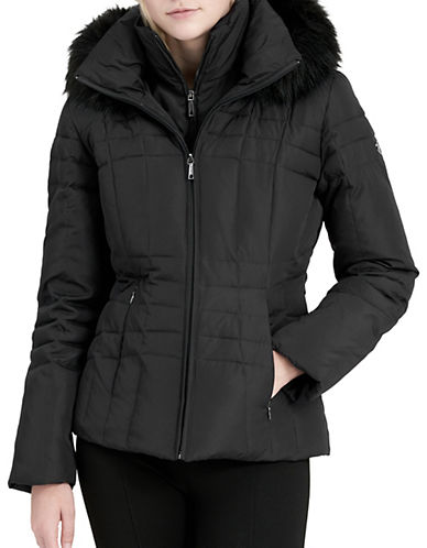Calvin Klein Faux Fur Trimmed Down Puffer Coat-BLACK-XX-Large