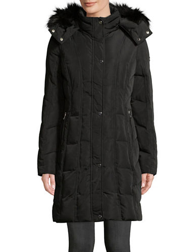 Calvin Klein Faux Fur-Trimmed Jacket-BLACK-X-Small 89810286_BLACK_X-Small