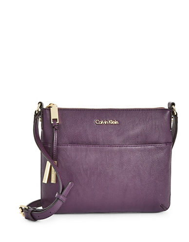 Calvin Klein Textured Faux Leather Crossbody Bag-PURPLE-One Size