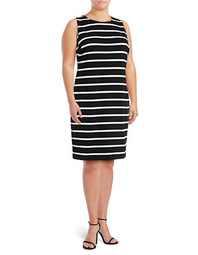 Calvin Klein Plus Ottoman Stripe Sheath Dress-BLACK-16W