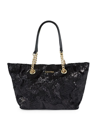 Calvin Klein Sequined Chain Tote-BLACK-One Size