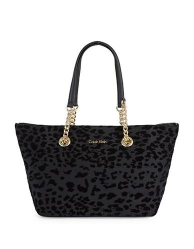 Calvin Klein Leopard Flock Chain Tote-BLACK-One Size