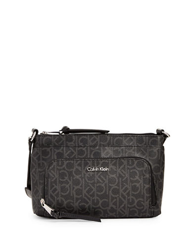 Calvin Klein Printed Faux Leather Crossbody Bag-BLACK-One Size
