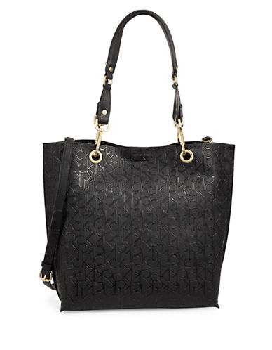 Calvin Klein Monogram-Embossed Tote-BLACK-One Size