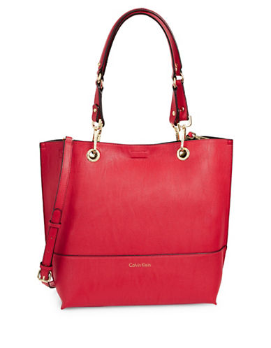 Calvin Klein Reversible Tote with Pouch-RED-One Size