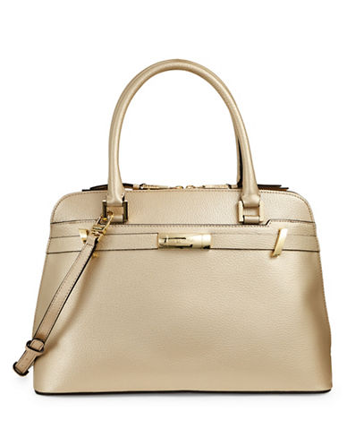 Calvin Klein Pebbled Dome Satchel-GOLD-One Size