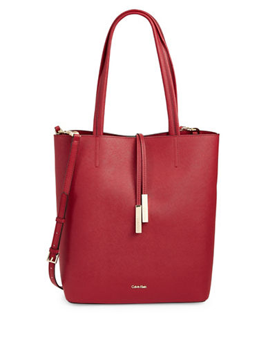 Calvin Klein North-South Saffiano Tote-RED-One Size
