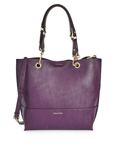 Calvin Klein Reversible Tote with Pouch-PURPLE-One Size