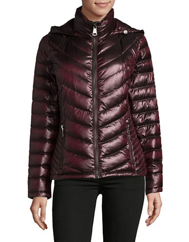 Calvin Klein Packable Down-Filled Zip Puffer Jacket-WINE-Large