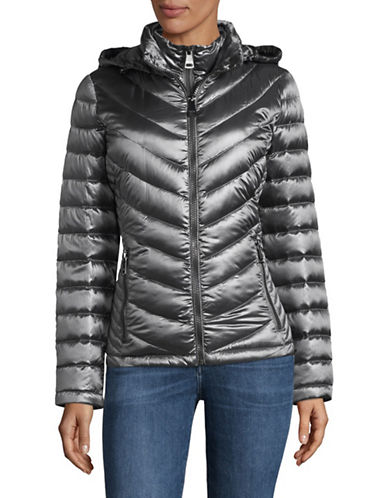 Calvin Klein Packable Down-Filled Zip Puffer Jacket-GREY-Medium