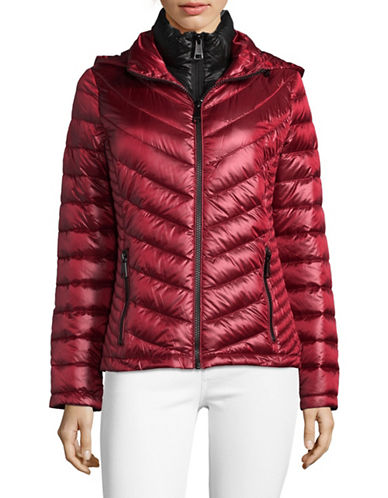 Calvin Klein Packable Down-Filled Zip Puffer Jacket-DARK RED-X-Large