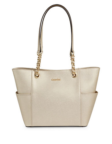 Calvin Klein Key Items Saffiano Leather Tote Bag-GOLD-One Size