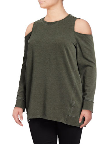 Calvin Klein Performance Plus Distressed Cold-Shoulder Top-GREEN-3X