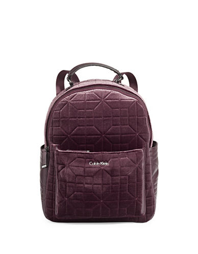 Calvin Klein Geometric Velvet Backpack-PURPLE-One Size