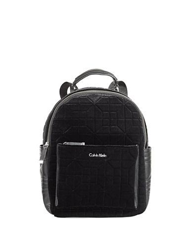 Calvin Klein Geometric Velvet Backpack-BLACK-One Size