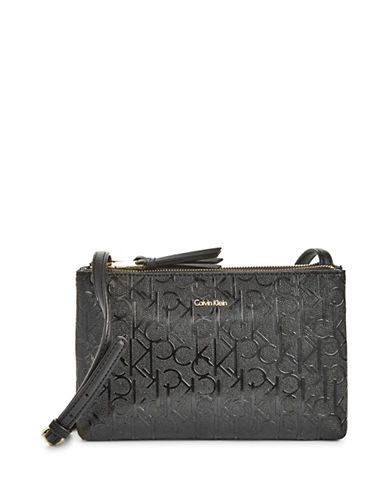Calvin Klein Faux Patent Leather Monogram Crossbody Bag-BLACK-One Size