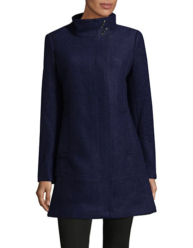 Calvin Klein Classic Stand Collar Wool Coat-INDIGO-X-Small