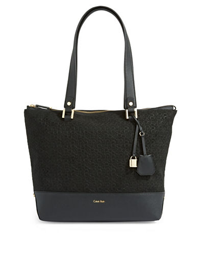 Calvin Klein Monogram-Embossed Suede Tote-BLACK-One Size