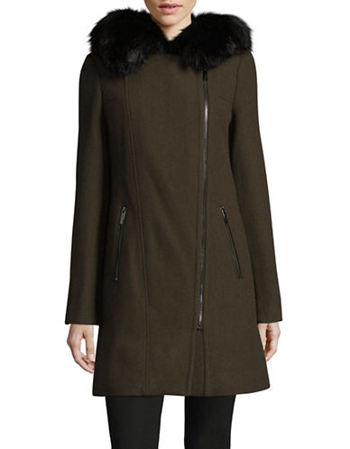 Calvin Klein Faux Fur Trim Overcoat-GREEN-X-Small