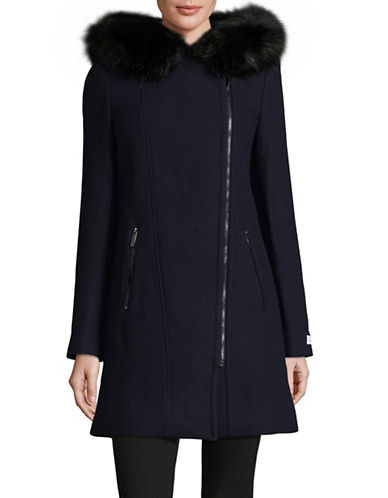 Calvin Klein Faux Fur Trim Overcoat-NAVY-Large