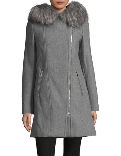 Calvin Klein Faux Fur Trim Overcoat-TIN-XX-Large