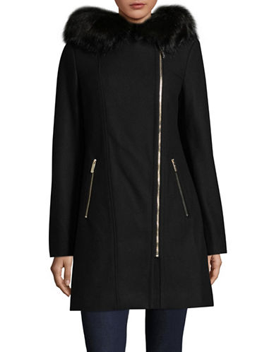 Calvin Klein Faux Fur Trim Overcoat-BLACK-X-Small
