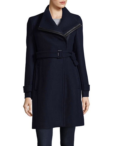 Calvin Klein Essentials Coat with Leather Belt-NAVY-12