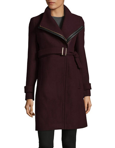 Calvin Klein Essentials Coat with Leather Belt-BURGUNDY-10