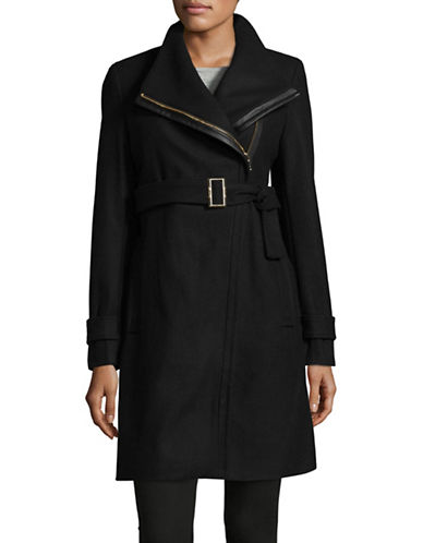 Calvin Klein Essentials Coat with Leather Belt-BLACK-16