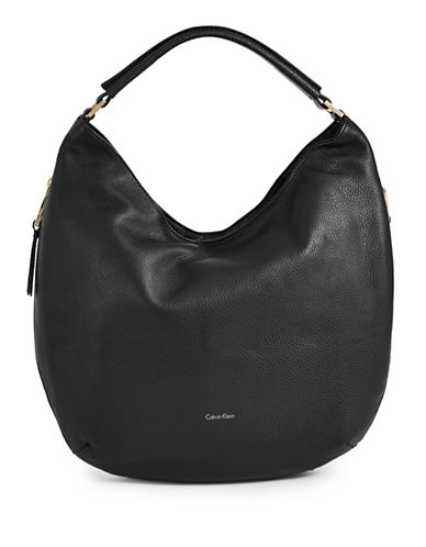 Calvin Klein Leather Hobo Bag-BLACK-One Size