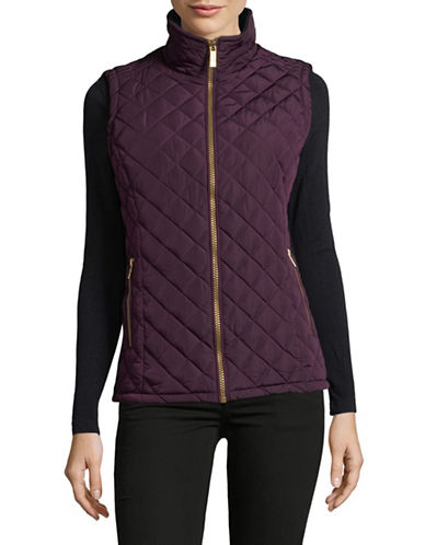 Calvin Klein Quilted Puffer Vest-AUBERGINE-Large