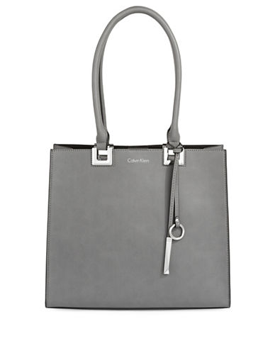 Calvin Klein Classic Faux Leather Tote-BLACK/GREY-One Size