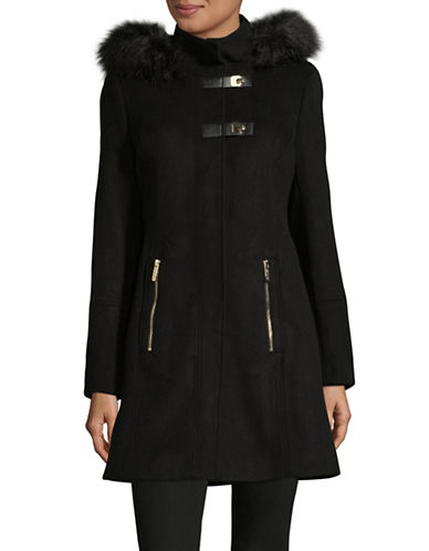 Calvin Klein Versatile Faux Fur-Trimmed Coat-BLACK-Small