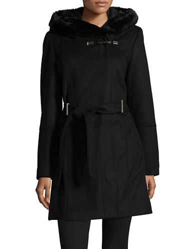 Calvin Klein Faux Fur Trim Hooded Coat-BLACK-Large
