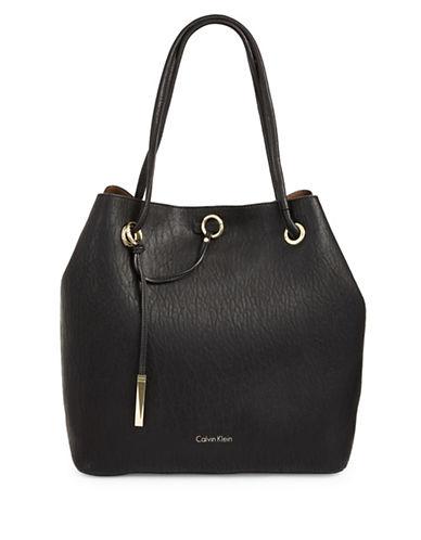 Calvin Klein Reversible Drawstring Bucket Bag-BLACK-One Size