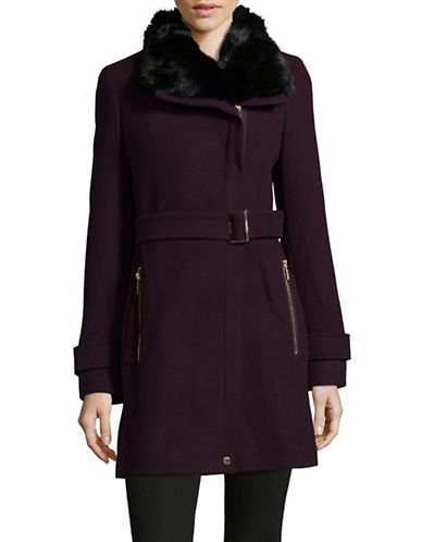 Calvin Klein Buckled Cuff Faux Fur Trim Coat-BURGUNDY-2