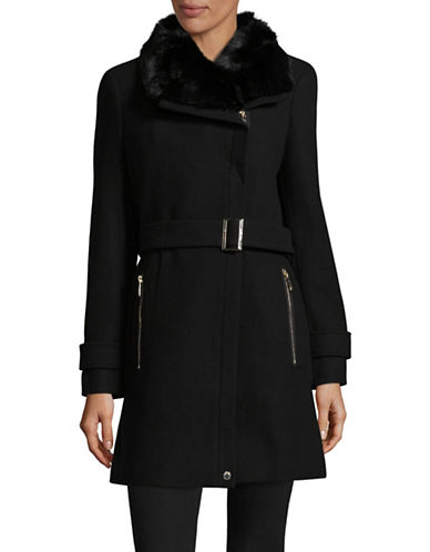 Calvin Klein Buckled Cuff Faux Fur Trim Coat-BLACK-12