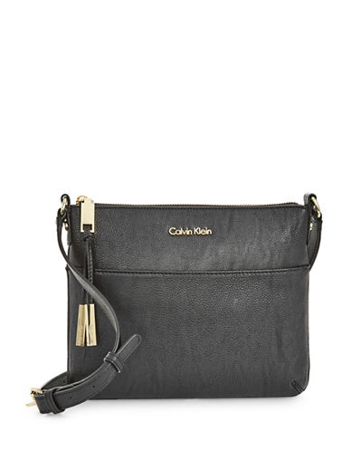 Calvin Klein Textured Faux Leather Crossbody Bag-BLACK-One Size