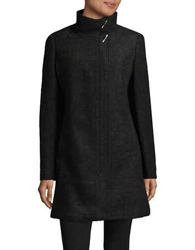 Calvin Klein Classic Stand Collar Wool Coat-CHARCOAL-X-Small