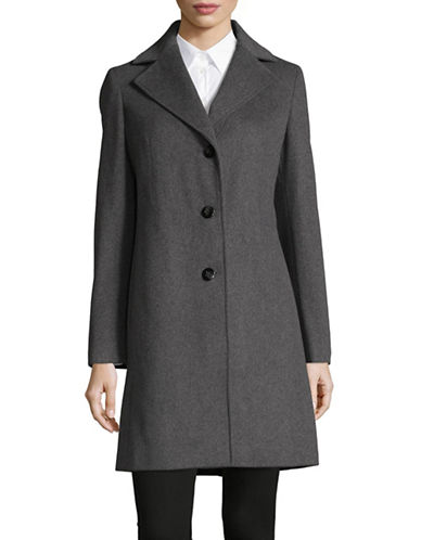 Calvin Klein Wool-Blend Reefer Coat-LIGHT GREY-16