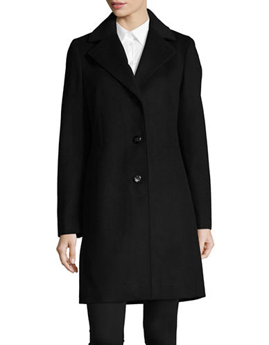 Calvin Klein Wool-Blend Reefer Coat-BLACK-2